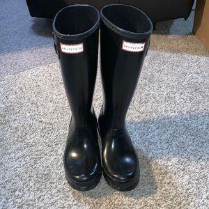 Hunter Boots Kids Gloss Weather Rain Boots Size 4